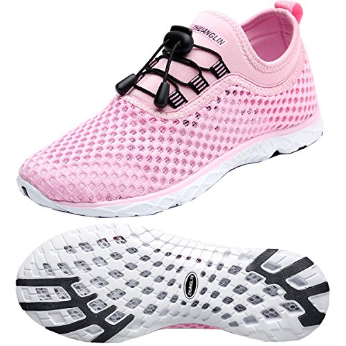 Zhuanglin Women's Quick Drying Aqua Water Shoes,Pink,10 B(M) US