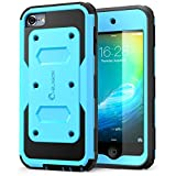iPod Touch 6th Generation Case, [Heave Duty] i-Blason Apple iTouch 5/6 Case Armorbox [Dual Layer] Hybrid Fullbody Case with Front Cover and Builtin Screen Protector/Impact Resistant Bumper (Blue)