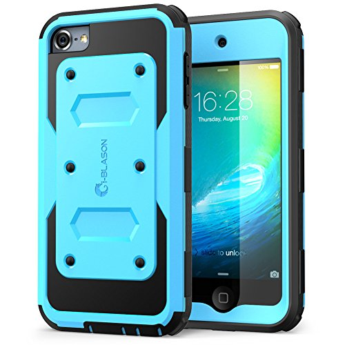 iPod Touch 6th Generation Case, [Heave Duty] i-Blason Apple iTouch 5/6 Case Armorbox [Dual Layer] Hybrid Fullbody Case with Front Cover and Builtin Screen Protector / Impact Resistant Bumper (Blue)