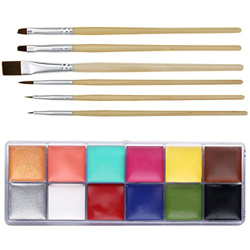 CCbeauty Professional Face Paint Oil Body Painting Art Party Fancy Make Up + Brushes Set (12 deep Color+Brushes) -