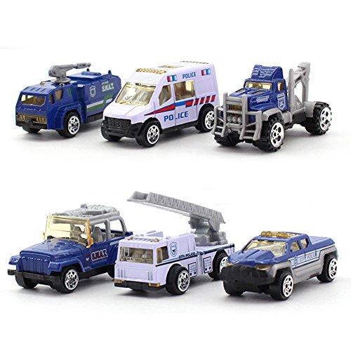 Mini Juguete de vehículo de Aleación de Simulación Incluido Vehículo Militar, Camión de Bomberos, Coche de policía-6pcs