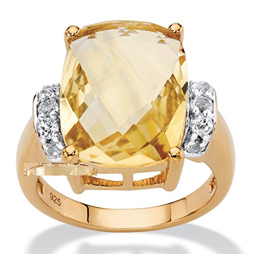 Platinum over .925 Silver Cushion Cut Genuine Citrine and White Topaz Ring Size 7