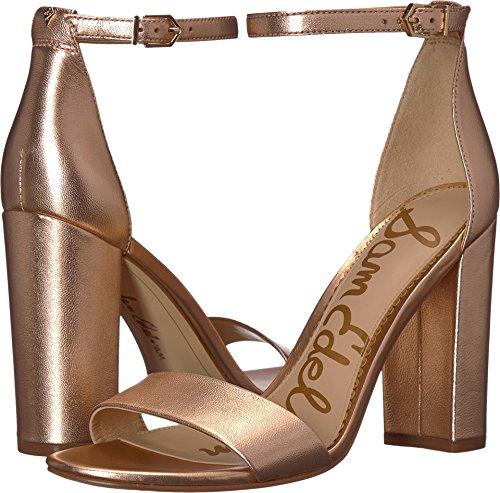 Sam Edelman Women's Yaro Ankle Strap Sandal Heel Blush Gold Soft Metallic Sheep Leather 6 W US (Leather Soft Gold Footwear)