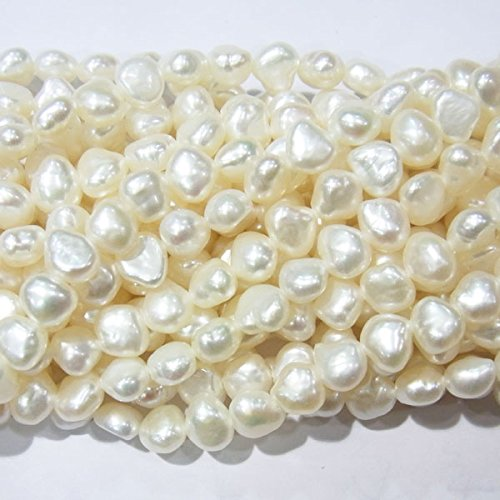 TheTasteJewelry 7-8mm Genuine Twilight White Freshwater Cultured Pearls Jewelry Making Necklace Healing 3577 ()