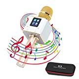Wireless Karaoke Bluetooth Microphone, Portable Mini Handheld Speaker, K3 LCD Touch Screen Stereo Player for Music Playing, Home KTV Karaoke Mic for Apple Iphone Android Smartphone or PC (K3 Gold)