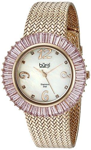 Burgi Women's BUR076PK Mother-Of-Pearl Diamond and Baguette Bracelet Watch