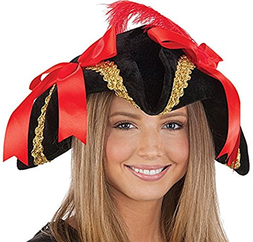 Black Velvet Ladies Pirate Hat with Gold Trim, Red Bows and Feather Pkg/1