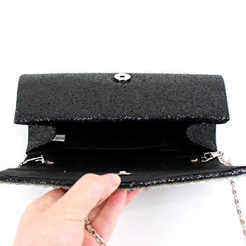 Millya Shoulder Bag Women Envelope Bag Glitter Black Party Chain Clutch Evening Rhinestone Crossbody Purse qrq4C8