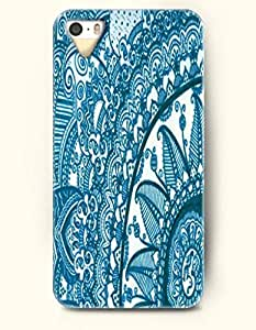 OOFIT Apple iPhone 5 5S Case Moroccan Pattern ( Turquoise and White Floral Doodle )