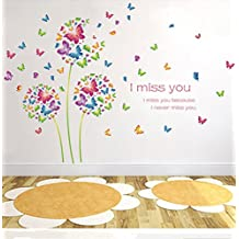 Butterfly shape color dandelion wall decoration warm romantic background wall stickers removable PVC sticker