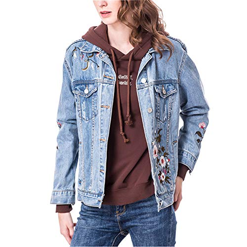 Corto Vaquera Con Bordado Lightblue de Para Abrigo Niñas De Chaqueta Jeans Floral Mujer Suelto Fray qtFwInIdPT