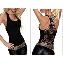 Women Crochet Hollow Out Lace Back Tank Top Clubwear Halter Camisole