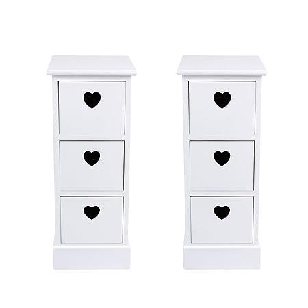 Kinshops 2 Pcs White Bedside Table With Heart Cutout 3 Storage