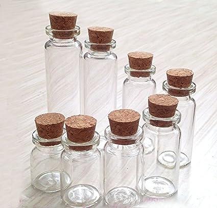 Juego de 6 varios tamaños que deseen botellas tarros de cristal con tapón de corcho/
