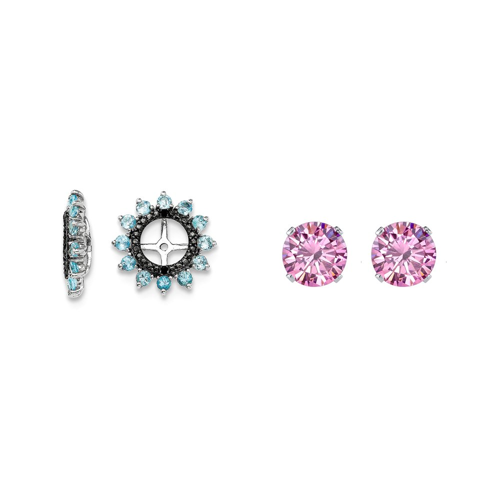 Sterling Silver Blue Simulated Topaz, Black Simulated Sapphire Earring Jacket + 2mm Pink CZ Studs