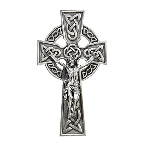 "James Brennan Irish 8"" Silver Tone Knotted Claddagh Celtic Wall Cross Crucifix in Antique Pewter Finish"