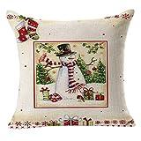 Leewos Christmas Cushion Case,Fashion Xmas Tree Snowman Printed Party Decor Pillowcase Linen Square Home Throw Cushion Cover (45X45cm, B)