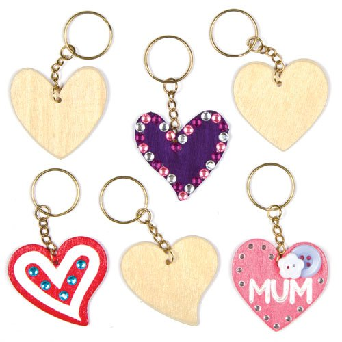 Baker Ross Heart Wooden Keyrings for Children to Design Paint and Decorate for Valentine's or Mother's Day (Pack of ()