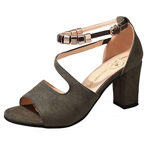 de básica mujer Green Gris Verano Tacones Zapatos para sintético cuero Negro Bomba Casual de GAOLIXIA Verde Rosa 01Rqxwp