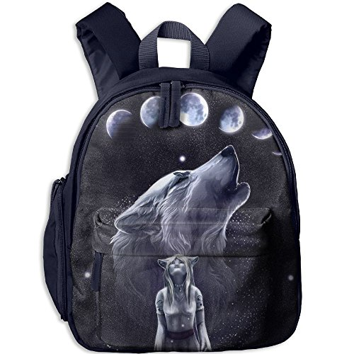 Small School Bags Creating With Wolf Girl For Kindergarten Unisex Kids - Oxford Angeles Street Los
