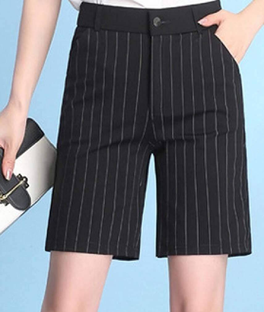 Lutratocro Womens Casual Plus Size Straight Striped High Rise Shorts