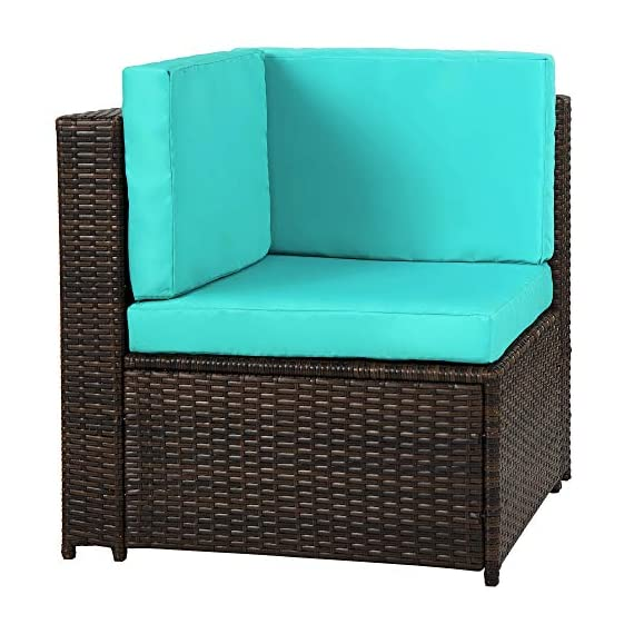 romatlink 7 Pieces Outdoor Rattan Patio Furniture Set, Modern Wicker Conversation Sectional Sofa Chairs with Cushioned Couch & Glass Top Coffee Table, Perfect for Garden Lawn Poolside Backyard - [Multiple layouts available for you]: The 7 pcs Rattan wicker sectional comes with 2 corner sofas, 4 Middle sofas, and 1 Coffee Table; cushions and throw pillows are also included to complete this set. Choose from a variety of different layouts and combinations to find your optimal configuration. [Modern & comfortable]: modern design outdoor sectional sofa with high-quality thickened Seat and back cushions take you more extraordinary comfort, Enjoy your leisure time whatever sitting or lying, suitable for entertaining your neighbors or friends. [Easy cleaning]: fade resistant cushions for easy to rinse. Simply zip off the machine washable cushion covers and give them a quick wash to have them looking brand new. - patio-furniture, patio, conversation-sets - 51Kio6j154L. SS570  -