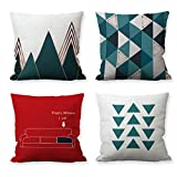 "HUABEI Modern Decorative Throw Pillow Covers Soft Cotton Lined Set of 4 Cushion Cases Square Pillowcase Family Home Decoration Sofa Couch 18"" x 18"" Blue Red Geometric Series"