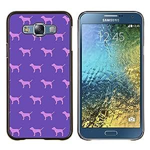 Caucho caso de Shell duro de la cubierta de accesorios de protección BY RAYDREAMMM - Samsung Galaxy E7 E700 - perro rosa púrpura del papel pintado