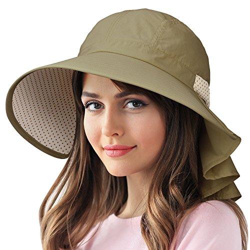 Sun Protection Hats for Women Hiking Garden Safari w/Flap Neck Cover Wide (Garden Cap)