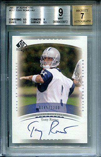 (2003 SP Authentic #217 Tony Romo RC Rookie AUTO MINT 145/1200 BGS Certified Football Slabbed Autographed Rookie Card Dallas Cowboys)