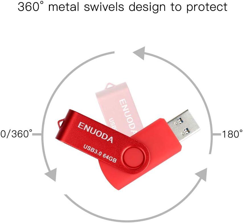 Blue Gold Red 3pcs 32GB USB 2.0 Flash Drive ENUODA Swivel Memory Stick Storage Thumb Drive Mixed Colors
