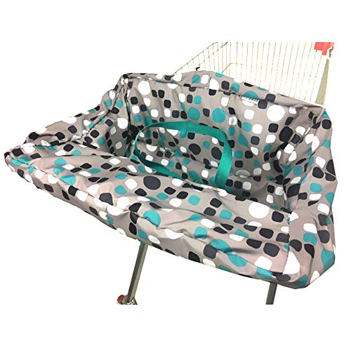 Portable Shopping Cart Cover | High Chair and Grocery Cart Covers for Babies, Kids, Infants & Toddlers ✮ Includes Free Carry Bag ✮ (Simple Blue Dot) from Brain Architect Child