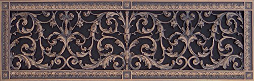 Decorative Vent Cover, Grille or Register, made of resin in Louis XIV style fits over a 8
