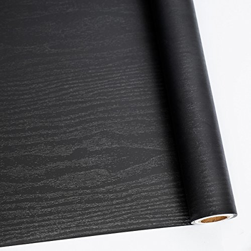 "24"" X 118"" Black Wood Self Adhesive Paper Decorative Self-Adhesive Film Furniture Real Wood Tactile Sensation Surfaces Easy to Clean"