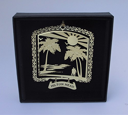 Hilton Head Brass Ornament Black Leatherette Gift Box by I Love My State by I Love My State