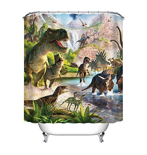 (LB Jurassic Age Dinosaur Illustration Shower Curtain Set for Bathroom, T-rex Predator House Decor Curtain, 59 W x 70 L Polyester Fabric Shower Curtain Waterproof)
