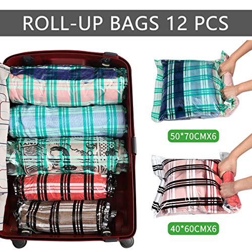 14d6fb348b3a Storage Master 12 Compression Bags, Travel Space Saver Vacuum Bags for  Clothes (12-Travel)