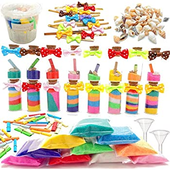 Guaishou DIY Sand Art and Crafts Kit Wishing Glass Bottles Colorful Sands Beach Sea Shells Message Paper Mini Tie