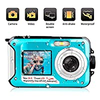 Underwater Camera 1080P Full HD Waterproof Digital Camera 24 MP Video Recorder Camcorder Selfie Dual Screen Shoot Waterproof Camera for Snorkelling