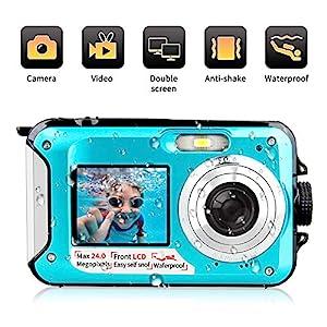 Underwater Camera 1080P Full HD Waterproof Digital Camera 24 MP Video Recorder Camcorder Selfie Dual Screen Shoot Waterproof Camera for Snorkelling