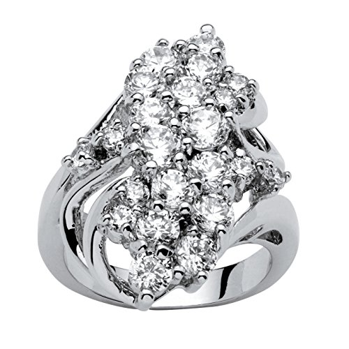 - Palm Beach Jewelry White Cubic Zirconia Platinum-Plated Cluster Cocktail Ring Size 7