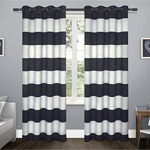 (Exclusive Home Rugby Sateen Woven Blackout Grommet Top Curtain Panel Pair, Navy, 52x84)