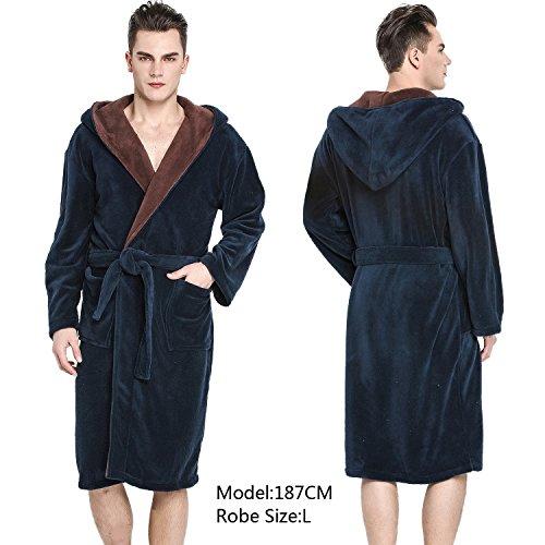 COSMOZ Midnight Blue Bathrobe Drowsy Cloud Soft Spa Kimono Brown Shawl Collar Hood Long Robe,Unisex Women Men (Male Robes)