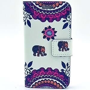 WQQ besar el patrón bebé elefante cuero de la PU con la caja y la tarjeta de la ranura para el mini galaxia s5