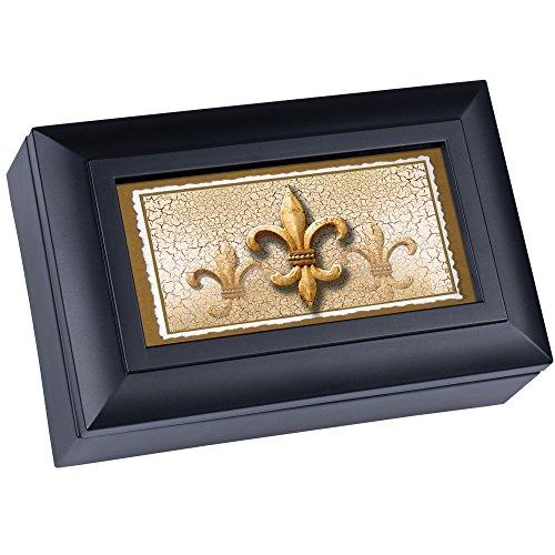 Cottage Garden Fleur De Le Matte Black Petite Music Box / Jewelry Box Plays Wonderful World