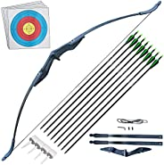 Archery Takedown Recurve Bow and Arrow Set for Adults Beginner 30 40LBS Right Hand Hunting Long Bow Kit for Ou