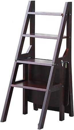 ANHPI Escalera De Mano Plegable Madera Taburete De Escaleras Estante De Flores Estantes De Escalera Multifuncionales De Doble Uso Taburete De Cocina para Escalar,D: Amazon.es: Hogar
