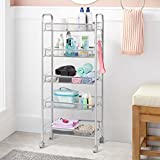 LANGRIA  5-Tier Mesh Wire Rolling Cart Multifunction Utility Cart Kitchen Storage Cart on Wheels, Steel Wire Basket Shelving Trolley,Easy moving,Silver