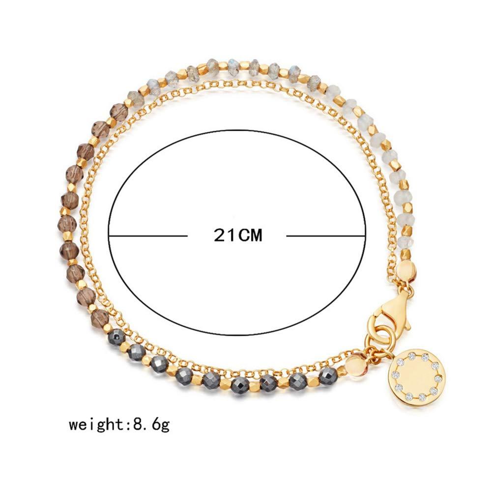 URUHR Handmade Beads Bracelets for Women Girls Alloy Chain Bracelets Bangle