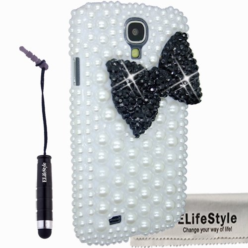 Elifestyle New 3D Bling Bowknot Bow Decorate full Pearls Rhinestone Case Cover Hard White for Samsung Galaxy S4 S IV i9500 (Colour: Black, Red,Hot Pink ,Pink, Purple, Turquoise) (Black), Best Gadgets